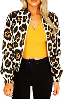 FASHIONGYAL UK G2463 New Women Ladies Leopard Print Front Zip Up Jacket