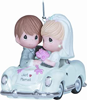"""Precious Moments, Christmas Gifts, """"Just Married"""", Bisque Porcelain Ornament, #131008"""