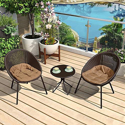 JU FU Tisch und Stuhl Set, Bügeleisen Balkon im Freien Kleinen Tisch und Stuhl 3-teiligen Startseite Einfache Freizeit Tisch und Stuhl Kombination, 2 Farben erhältlich
