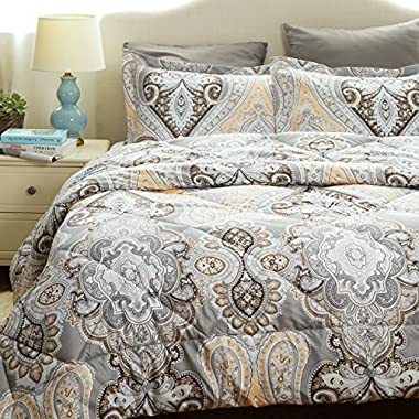 Paisley Comforter Set Full/Queen Classics Grey Printed-Down Alternative Comforter(88 x88 ) 3 Piece (1 Comforter + 2 Pillowcase)by Bedsure
