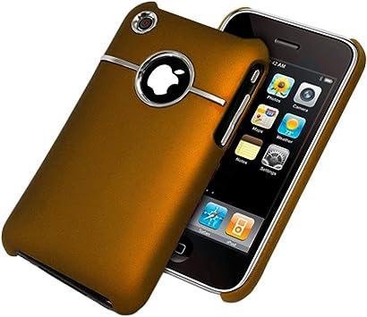 ebestStar - Coque Compatible avec iPhone 3 3GS Apple Etui Housse Plastique Rigide Silver-Line chromé, Orange [Appareil: 115.5 x 62.1 x 12.3mm, 3.5'']
