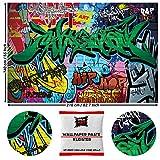 GREAT ART Fototapete Street Style Graffiti 210 x 140 cm – Jugendtapete Schriftzüge Pop Art Urbane Kunst Straßenkunst Dekoration Kinderzimmer – 5 Teile Tapete inklusive Kleister