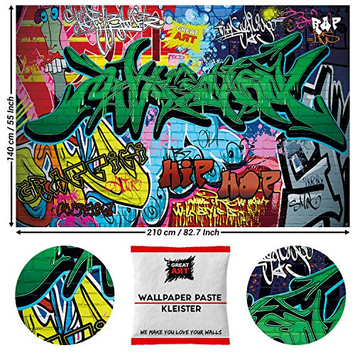 GREAT ART Foto Mural Decoración Graffiti Arte Poster Street Style Musica Colores 210 x 140 cm - Papel Pintado 5 Piezas incluye Pasta para pegar