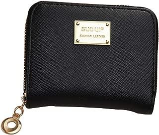 Pusaman Women's Short Wallet, Purse Female Student Fashion Simple Zipper Wallet (Color : Black, Size : 11 * 9 * 2CM)