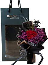 ブラックプリザーブドドライフラワーブーケ(4Cレッド) 袋付 花束 母の日 父の日 敬老の日 誕生日 記念日 お祝い プレゼント ギフト 退職 女性 男性 贈り物