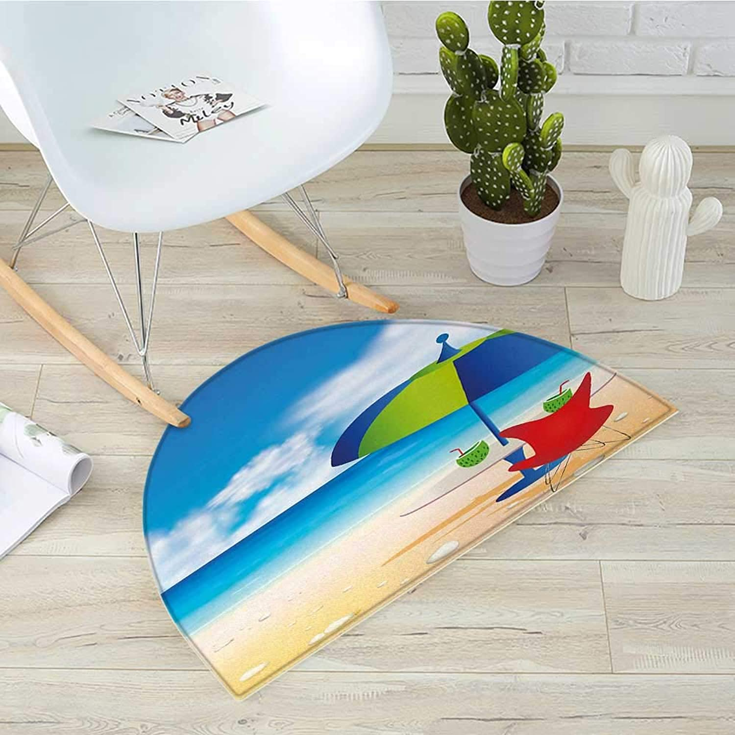 Beach Half Round Door mats Relaxing Scene with Umbrella and Drinks Open Skyline Holiday Destination Summer Time Bathroom Mat H 35.4  xD 53.1  Multicolor
