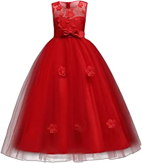 bcc270a142497 Little Big Girls'Tulle Retro Vintage Dresses Flower Lace Pageant Party  Wedding Floor Length Dance