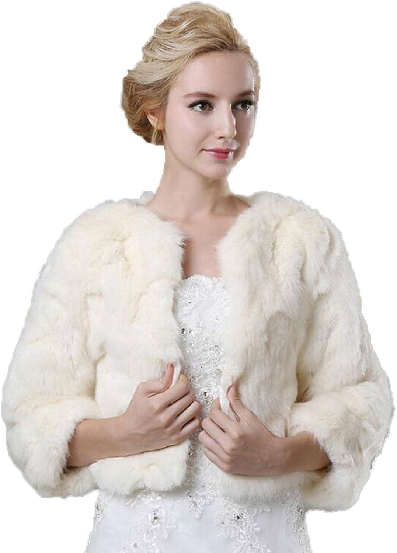 Kelaixiang Fur Coat for Winter Outwear Short Jacket 3 4 Sleeves for Bridal Wedding