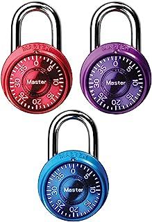 Master Lock 1533TRI Locker Lock Mini Combination Padlock, Assorted Colors, Pack Of 3