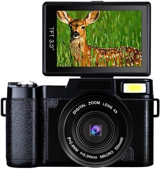 Camara de Fotos Camara Fotos Full HD 2.7K 24MP Videocámaras Camara de Fotos Digital Camara Fotos Compacta con Luz de Flash Retráctil