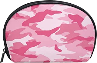 ALAZA Pink Camouflage Half Moon Cosmetic Makeup Toiletry Bag Pouch Travel Handy Purse Organizer Bag for Women Girls