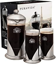 Pura Vida French Press Coffee Maker Set, 34 oz - 4 Level Filtration System - 2 Luxury Mugs - Heat Resistant Borosilicate Glass French Press with Durable 304 Grade Stainless Steel - Tea Maker, 8 Cup