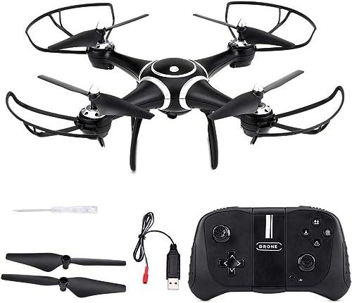 Dilwe RC Quadcopter mit HD-Kamera, WiFi-Lufüruck-H nlage Sprachsteuerung Headless-Modus One Key Return RC-Drohne mit Kamera und leuchtet (640  480 Pixel 0.3MP Objektiv, Schwarz