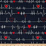 Windham Quilt Fabrics Calling All Nurses Heart Beat Black Quilt Fabric By The Yard