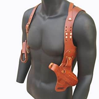 ANQIAO Repro WWII WW2 US Paratrooper 1911 Shoulder Holster Leather M1911 Stock Case Use Brown with Strap and Magazine Clip