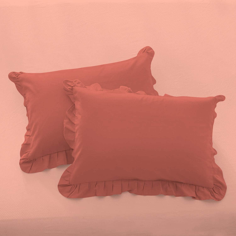 EgyptianSheets Ruffle Standard Pillow Shams High quality Set P Brick of Red 2 cheap
