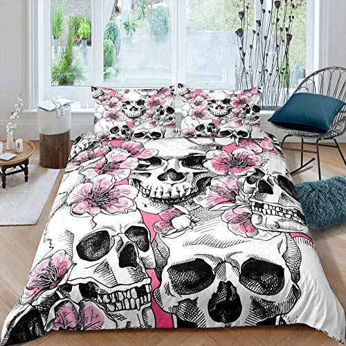 Rvvaceo Duvet Cover Set Microfiber Durable Fade Resistant Fabric-Include 1 Quilt Cover+2 Pillowcases-Soft Hypoallergenic, Easy Care Quilt Cover-Single (135 X 200 Cm) Halloween Quilt Pink Flower Print