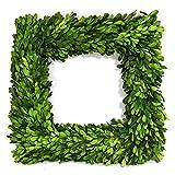 "Nature Original Boxwood Wreath Square Shape Well Preserved Boxwood Wreath Home Decoration for Indoors, Window, Wedding Summer Farmhouse Style Decor(Square Wreath, 14"")"