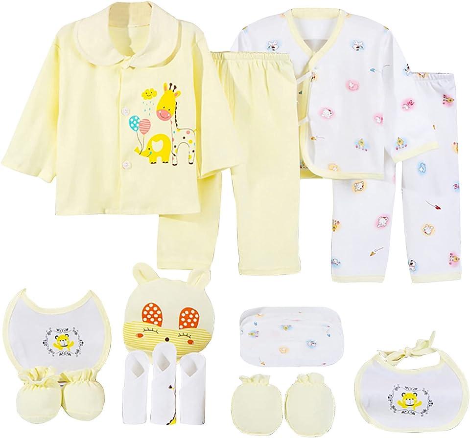 Baby Pyjama Sets Kleidung MäDchen Jungen Sommer T-Shirt Shorts Kinder Schlafanzug Top Hose Hut Taschentuch Lätzchen Handschuhe Socken Baumwolle Langarm Cartoons süß 18Pc Outfits 0-24 Monate