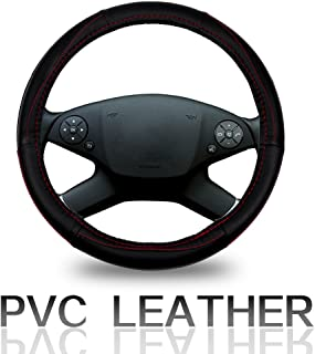 ECCPP Steering Wheel Cover 15 Inch Universal PVC Semi-PU Leather - Black with Red Line Auto Steering Wheel Cover