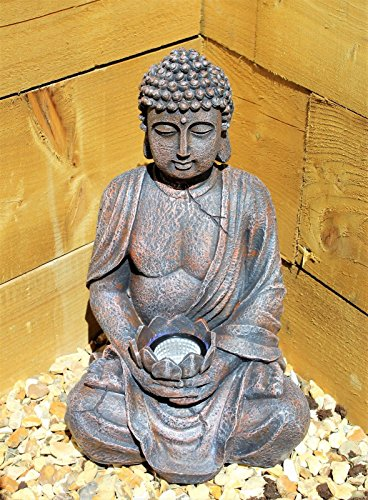 Large 39 cm Solar Power Buddha Stone Effect Garden Outdoor Indoor Statue Ornament