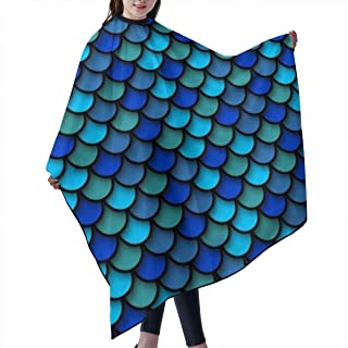 Professional Barber Supplies Tool Blue Pattern of Fish Scales Cape Cover Cloak Hair Dyed Hair Waterproof Cloth Anti-Static Hairdressing Haircut Apron Hair Dressing Gown Cape