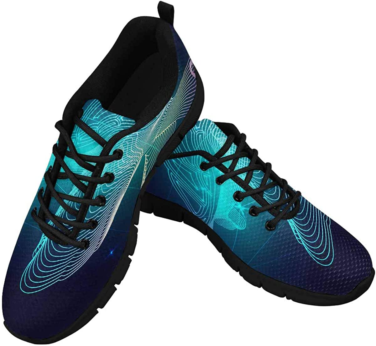 INTERESTPRINT Blue Turtle Composed Women's Lace Up Running Comfort Sports Sneakers