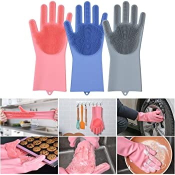 GEZRIL Silicone Dish Washing Gloves, Silicon Cleaning Gloves, Silicon Hand Gloves for Kitchen Dishwashing and Pet Grooming, Great for Washing Dish, Car, Bathroom (Multicolor, 1 Pair {2 Pisces})