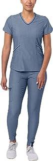 Adar Pro Modern Athletic Scrub Set for Women - Modern V-Neck Scrub Top & Yoga Jogger Scrub Pants