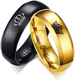 4bcff136f9 Yellow Chimes His or Hers Matching Set His Queen Her King Titanium  Stainless Steel Couple Bracelet