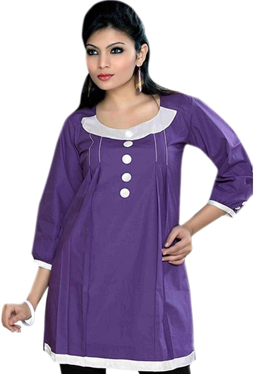 1545 Designs Women's Plus Size bluee Cotton Tunic Neck Button Work Dress