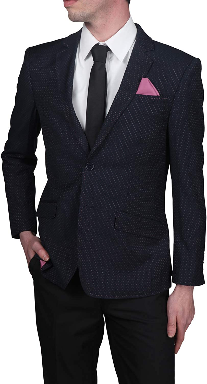 Elie Balleh Men's Slim Fit Two Button Jacket Navy Pin-Dot Blazer - Sport Coat