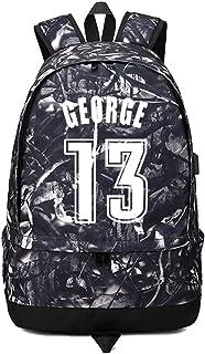 バスケットボール選手スターポール ジョージ発光ボール収納バックパックスポーツ用品預金多機能学生ブックバッグ男性女性