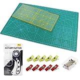 Alfombrilla de Corte A3 +Cúter Rotativo + Cuchilla de Repuesto + Patchwork de Regla + Abrazadera de Plástico(10 unidades) + Alfileres(40 unidades),Juego de patchwork,Juego de Tapete de Corte