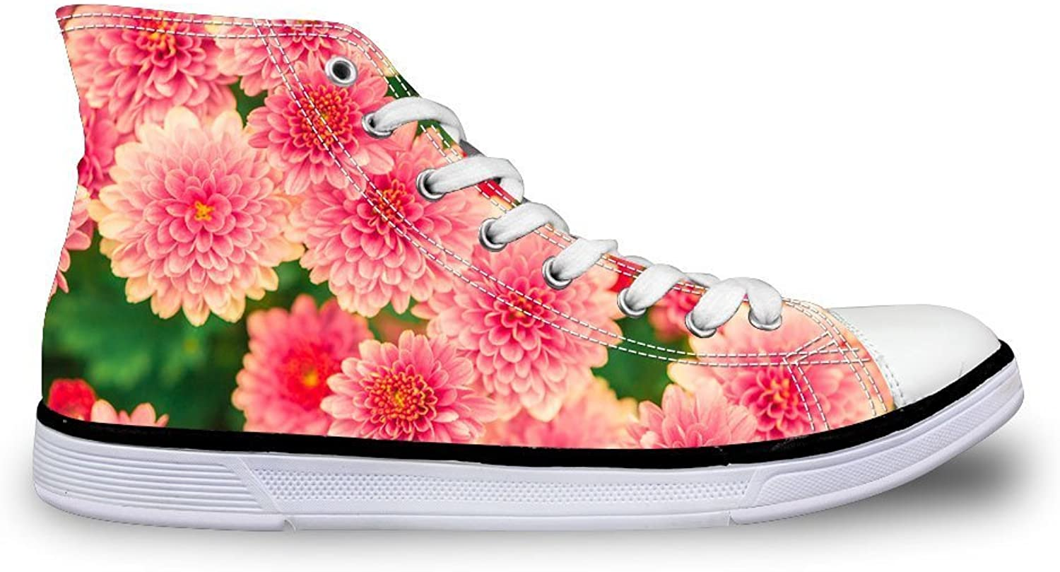FOR U DESIGNS Vintage pink Floral Print High-Top Lace Up Fashion Sneaker for Women Girls