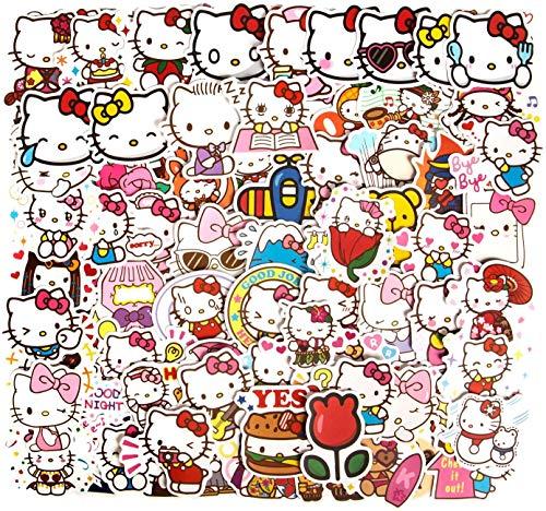 Huayao 100St. Hello Kitty Cute Schöne Aufkleber für Wasserflasche Laptop Gitarre Auto Motorrad Skateboard Gepäck Vinyl wasserdichte Graffiti Patches JKT