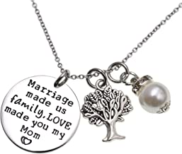 LParkin Mother in Law Gift Marriage Made Us Family but Love Made You My Mom Necklace Groom's Mom Bride Wedding Day Gift for Mom