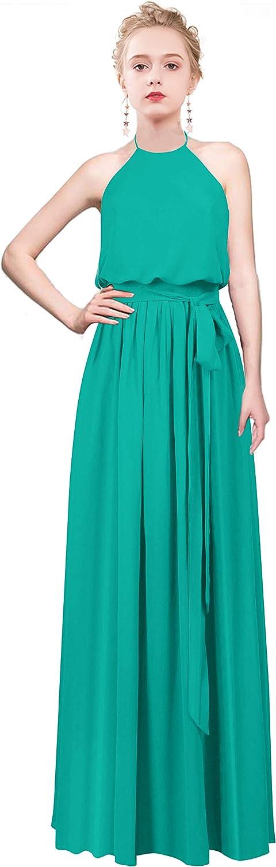 CladiyaDress Women Halter Neck Sleeveless Long Bridesmaid Dress Prom Gowns C070LF