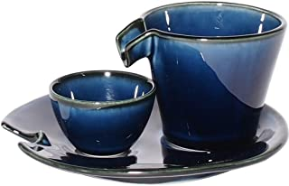 みのる陶器 冷酒器セット しずる 茄子紺ブルー - 3個入