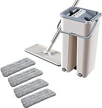 Easyeeasy Set opvouwbare platte dweil en emmers met 4 wisser-moppads Wassen en drogen Vlakmop Reinigingssysteem Vloerreini...