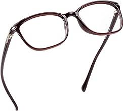 LifeArt Blue Light Blocking Glasses,Computer Reading Glasses,Transparent Lens,Reduce Headaches&Eyestrain,Stylish for Women/Men (LA_Nola_Dark Red, 1.75 Magnification)