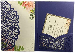 1Pcs Hollow Laser Cut Tri-Fold White Rose Flower Pocketfold Wedding Invitation Card Pocket,Royal Blue,Set