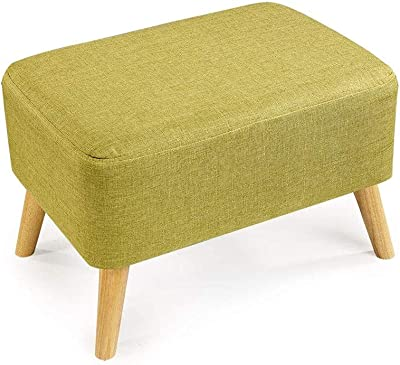 Folding Storage Ottoman Extra Padded Upholstered Rectangle s Footstool Chair Wood Support Upholstered Yellow-Green Linen Fabric Cover 4 Legs Change Shoe