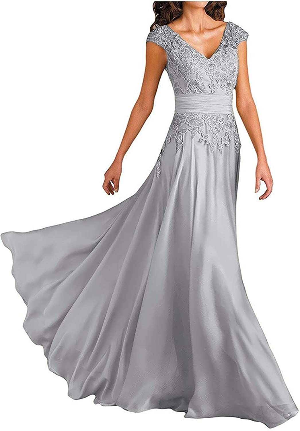 Women's Cap Sleeve Lace Mother of The Bride Dresses V Neck Aline Evening Formal Gowns M001