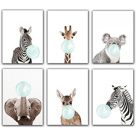 Animals Zebra Blue Bubble Gum Canvas Print Boys Kids Room Decor Nursery Poster