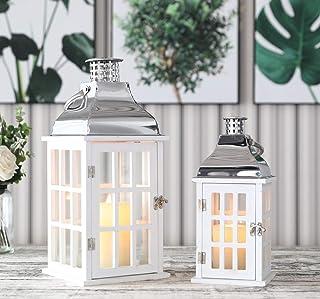 JHY Design - Juego de 2 farolillos colgantes de estilo vintage de 45,5 cm y 30,5 cm de alto, decorativos, de madera y acero inoxidable, para velas, para interiores, exteriores, jardín, fiestas, bodas