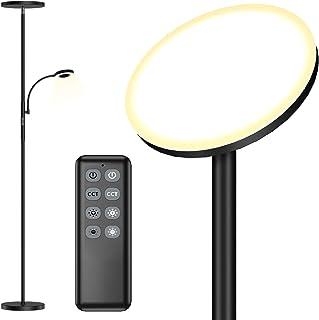 Lampadaire sur Pied Salon, 30W + 7W Lampadaire LED Dimmable avec 3 Températures de Couleur, Contrôle Tactile & Télécommand...