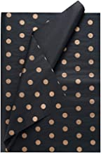 """ZOOYOO 50 Sheets Black and Gold Polka Dot Premium Tissue Paper - 20"""" x 28""""Each -Perfect for Wedding, Christmas, Art Craft ..."""