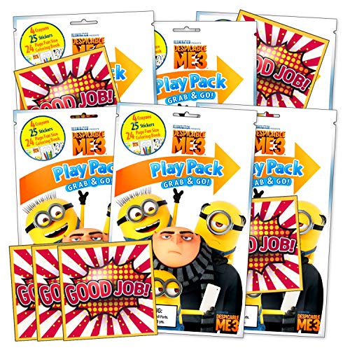 Despicable Me Minions Coloring Pack Party Activity Favors with Stickers, Crayons and Coloring Activity Book in a Resealable Pouch Bundled with Separately Licensed GWW Prize Reward Stickers
