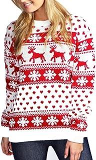 Janisramone Womens Ladies New Unisex Christmas Reindeer Snowflake Novelty Knitted Unisex Xmas Fairisle Jumper Sweater Top